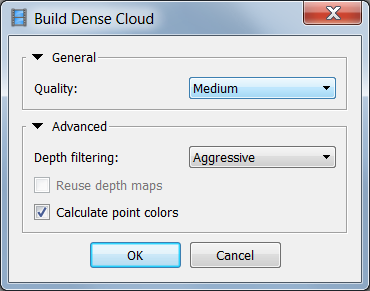 Build Dense Cloud dialog